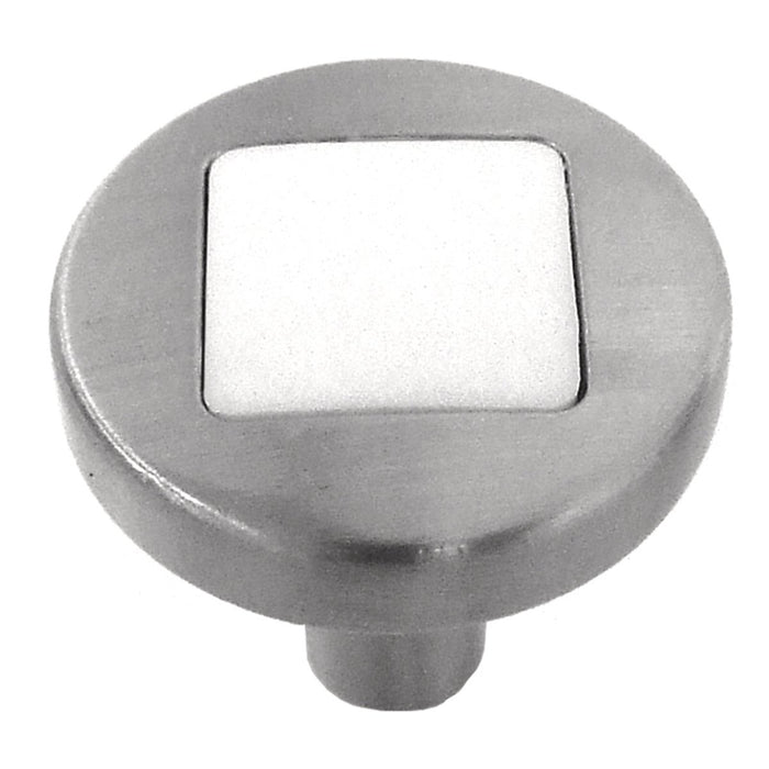 Hickory Hardware H-P3440-SNWM Designed for Value/Loft Satin Nickel & White Matte Round Knob - KnobDepot.com
