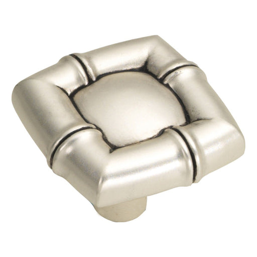 Hickory Hardware H-P3443-SAS Designed for Value/Bamboo Satin Antique Silver Square Knob - KnobDepot.com