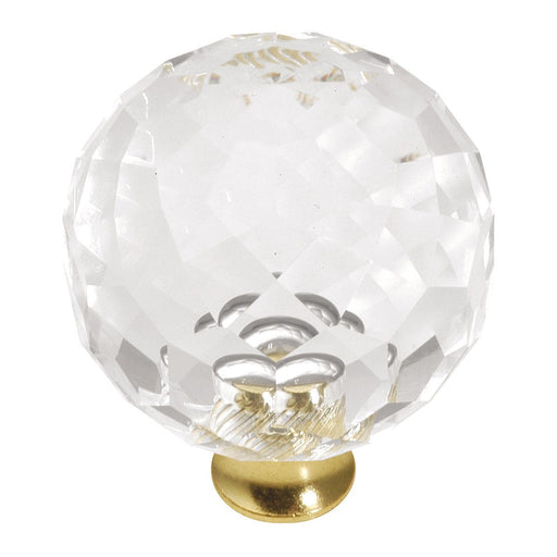 Hickory Hardware H-P35-CA3 Traditional/Crystal Palace Crysacrylic & Polished Brass Round Knob - KnobDepot.com