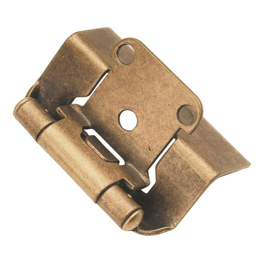 Hickory Hardware H-P5710F-AB Functional/Self-Closing Semi-Concealed Antique Brass Hinge - KnobDepot.com