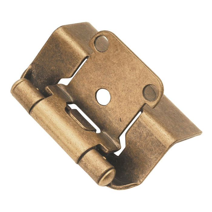 Hickory Hardware H-P5710F-AB Functional/Self-Closing Semi-Concealed Antique Brass Hinge - Knob Depot
