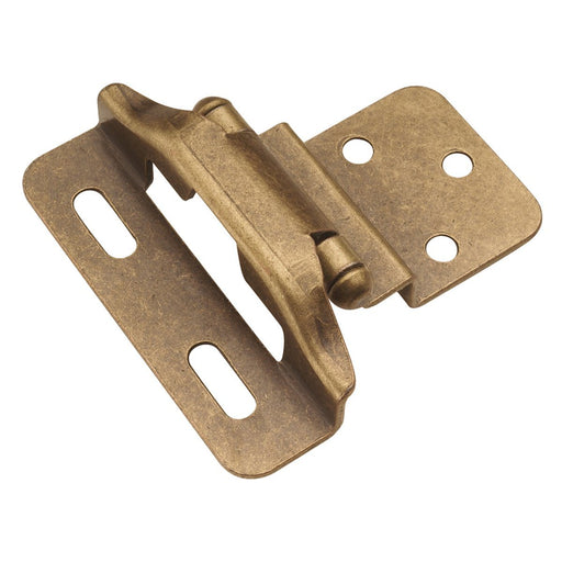 Hickory Hardware H-P61030F-AB Functional/Self-Closing Semi-Concealed Antique Brass Hinge