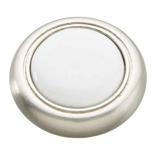 Hickory Hardware H-P710-SNW Traditional/Tranquility Satin Nickel & White Round Knob