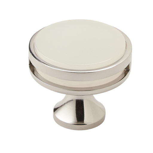 Amerock A-BP36608PNFA Oberon  Polished Nickel/Frosted Acrylic Round Knob - Knob Depot