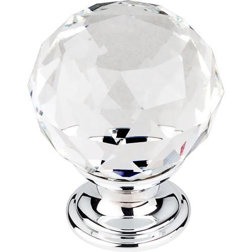 Top Knobs T-TK126PC Crystal Crystal & Polished Chrome Round Knob - Knob Depot