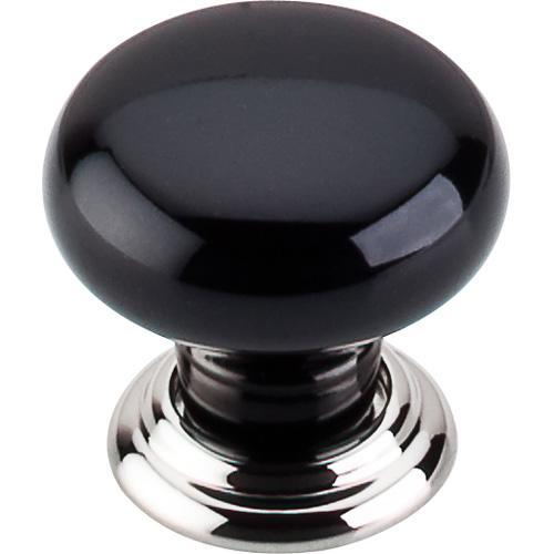 Top Knobs T-TK311PN Chateau Polished Nickel & Black Round Knob - KnobDepot.com