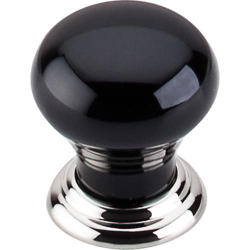 Top Knobs T-TK312PN Chateau Polished Nickel & Black Round Knob - KnobDepot.com