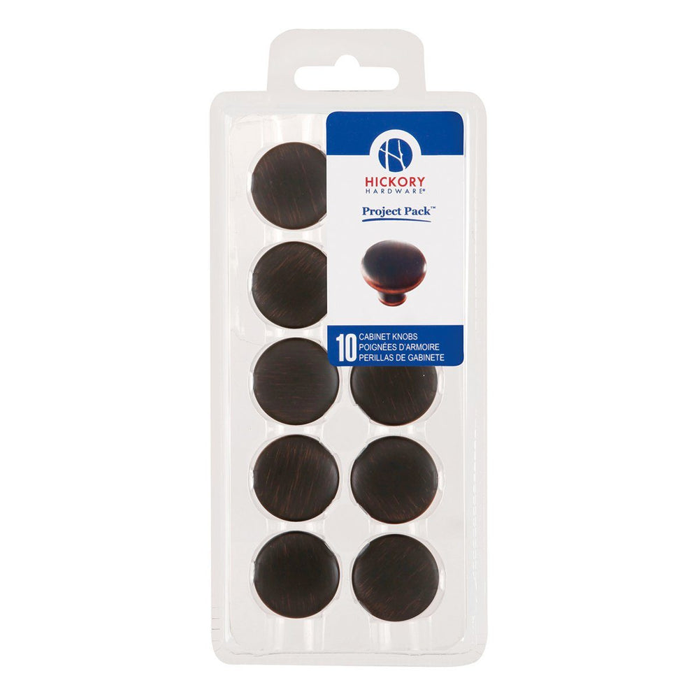 Hickory Hardware H-VP14255-OBH Functional/Project Pack Oil Rubbed Bronze Highlighted Round Knob - KnobDepot.com