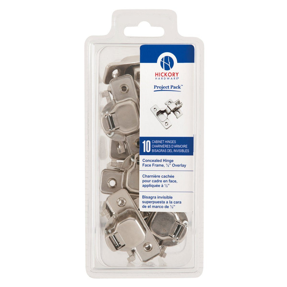 Hickory Hardware H-VP5124-14 Functional/Project Pack Bright Nickel Hinge