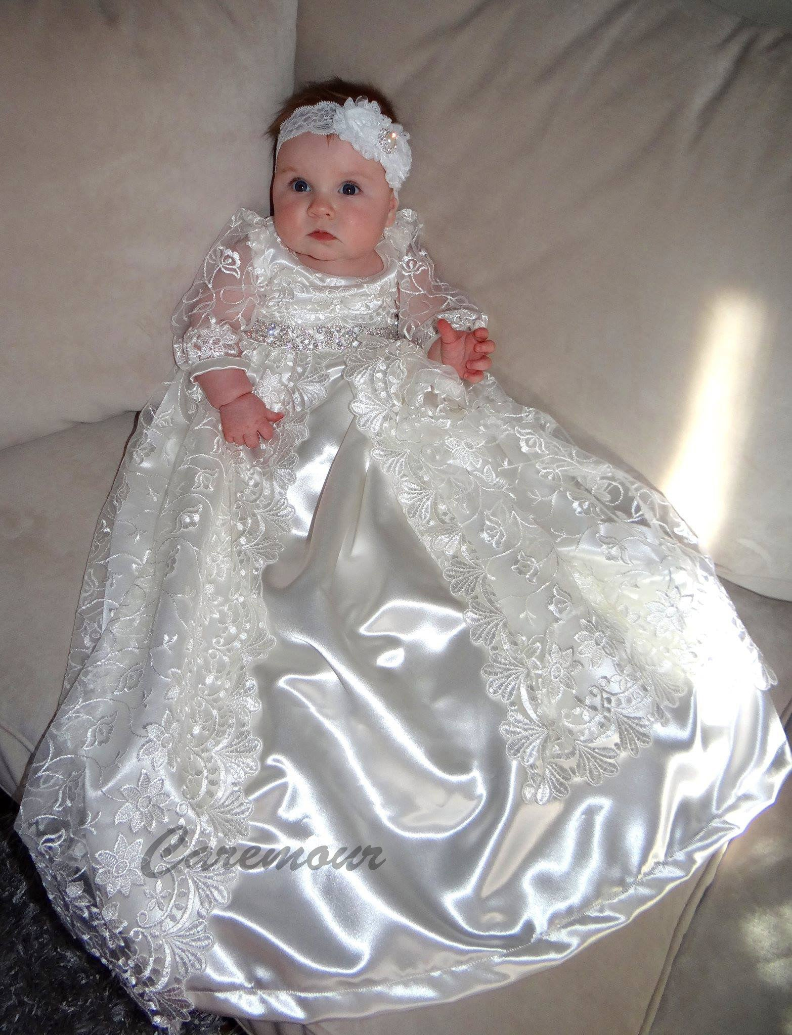 Christening Gown, Baptism Gown - Pearl beaded Off White/White Lace ...