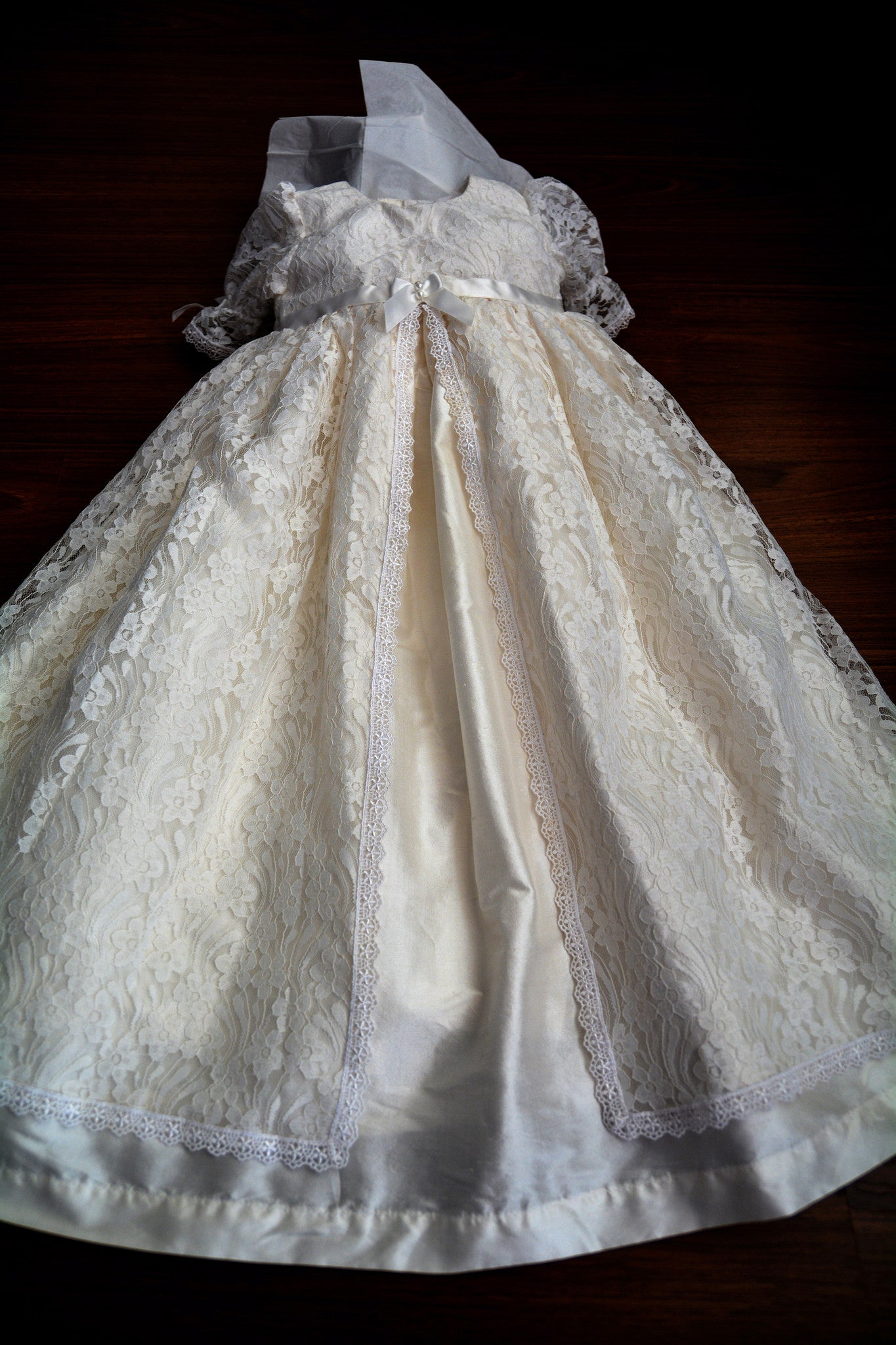 Madison Lace and Silk Christening gown set Baptism Gown Handcrafted ...