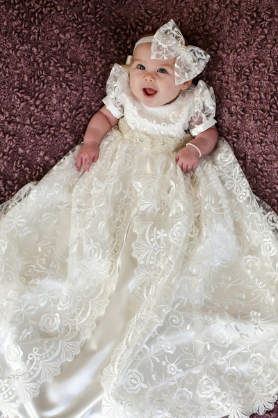71627bedf542a Stunning Off White Lace Christening Gown, Baptism, Dedication with Bea |  Caremour