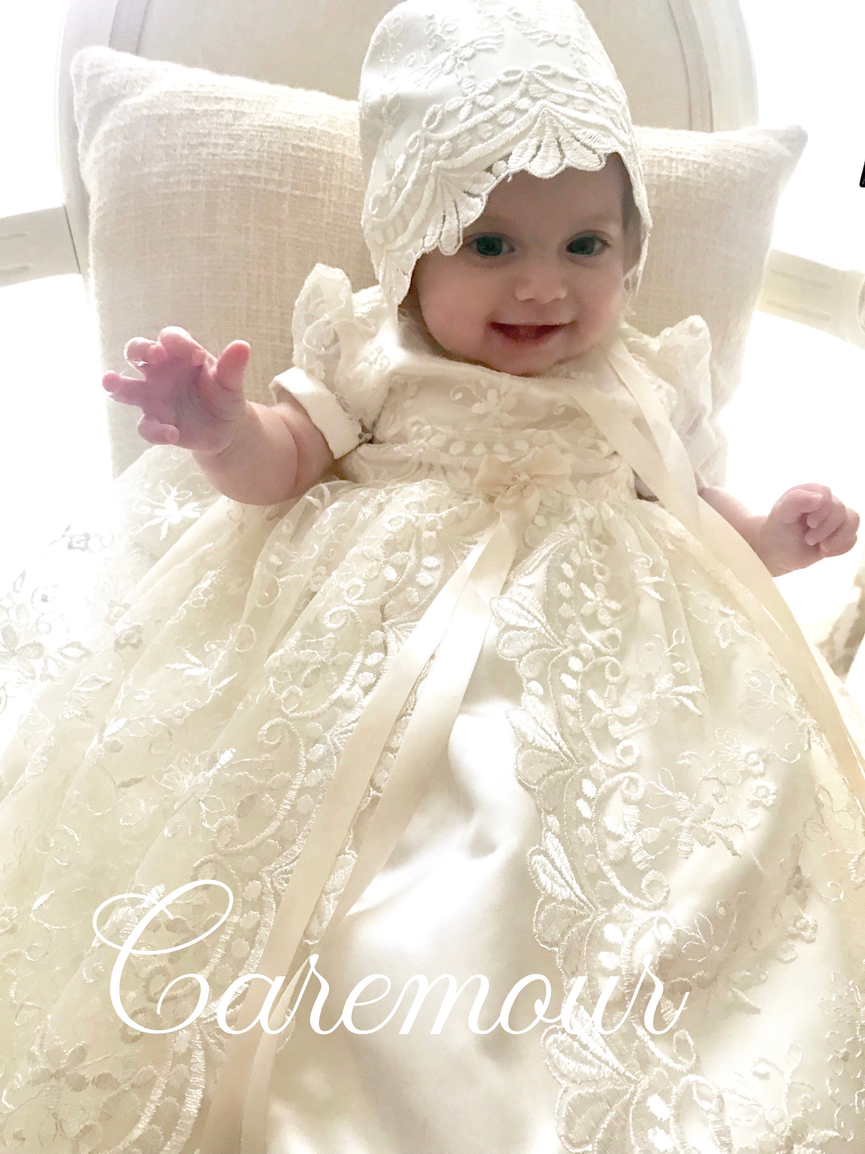 0-3 months 3-6 months 9-12 months Dedication 6-9 months Stunning Off White Lace Christening Gown Baptism 0-3 months SALE