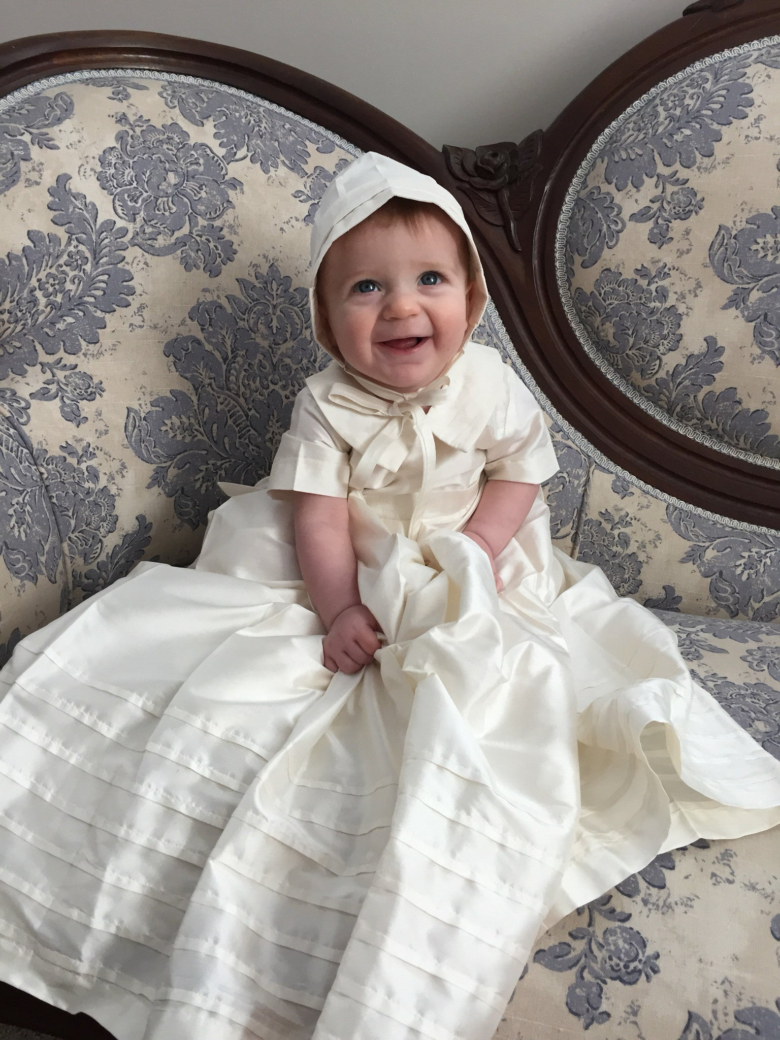 Christening Gown, Baptism Gown - Dupioni Silk, Alencon Lace ...
