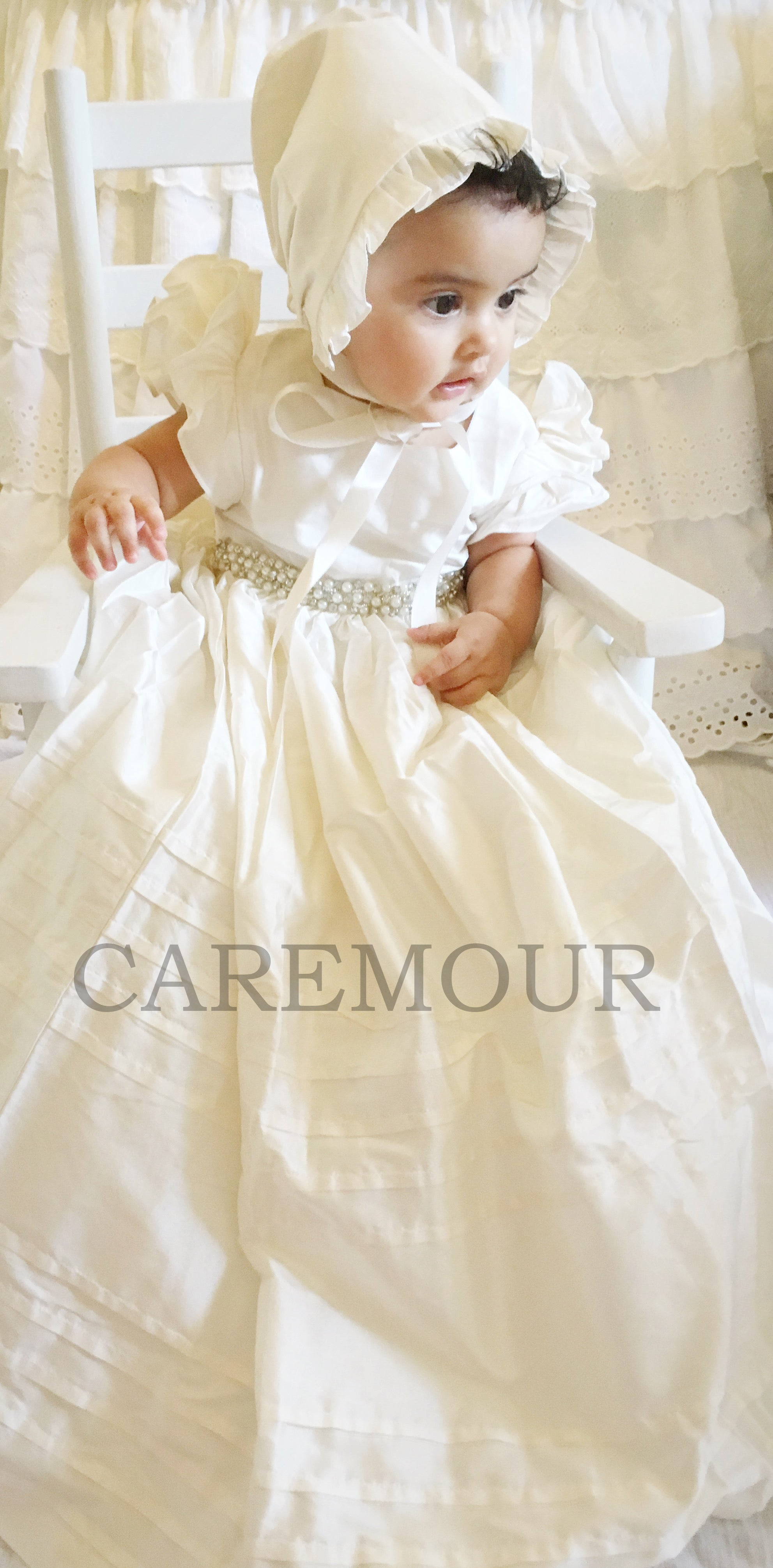 Christening Gown, Baptism Gown, with Beaded Lace Baptism dress for ...