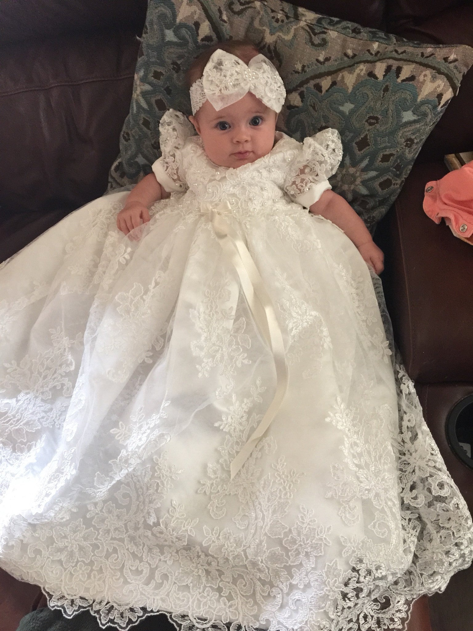 Beaded Alencon Lace Christening Gown, Baptism Gown | Caremour