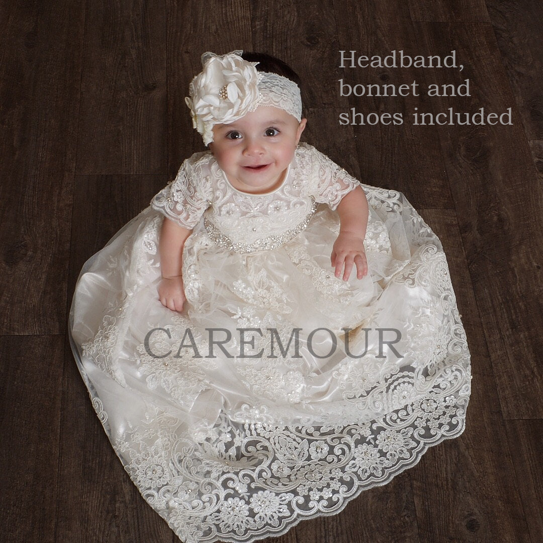 Newdeve Light Pink Baby Girls Dresses for Christening with Headband