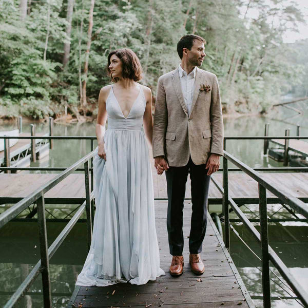 Mountain Elopement with Custom Groom's Linen Suit in Charlotte, NC