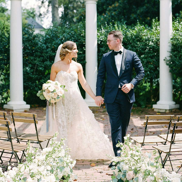 Navy and Black Tux for a Garden Wedding at the Duke Mansion in Charlotte, NC