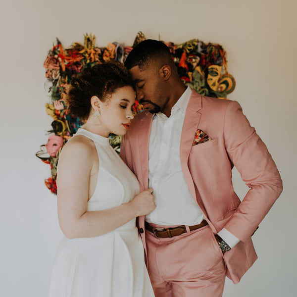 Modern Pink Groom's Suit for Industrial Chic Wedding in Charlotte, NC