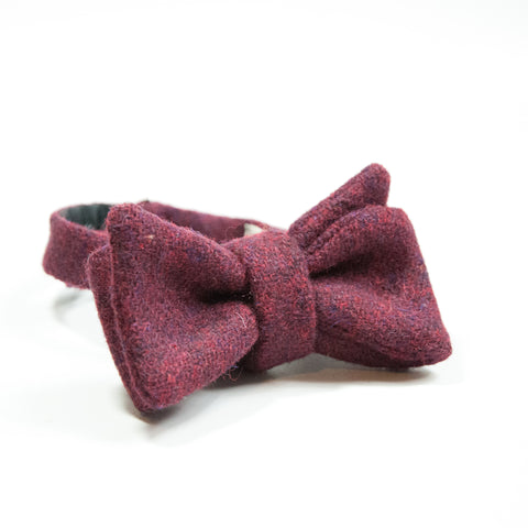 The Burgundy Harris Tweed Bowtie - OLE MASON JAR