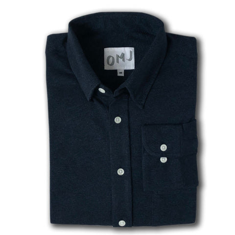 The Navy Knit Button Down