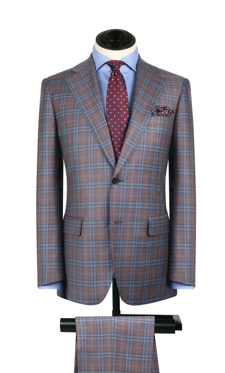Faded Red & Blue Plaid Sport Coat