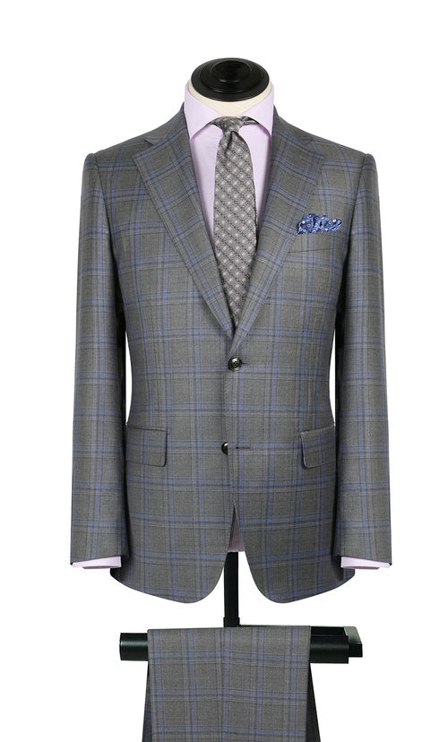 Grey & Sky Blue Plaid 2PC Suit