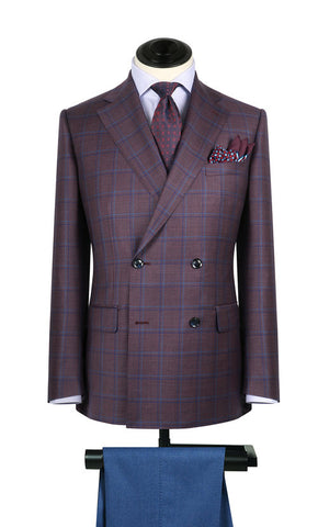 Burgundy w/ Navy & Light Blue Window Pane Sport Coat
