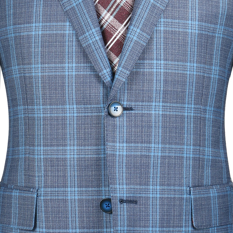 Steel Blue Plaid Sport Coat