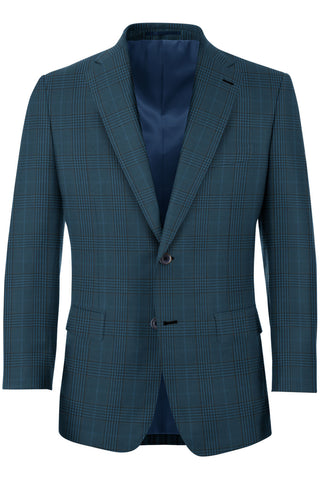 Sapphire Blue Glen Plaid 2PC Suit