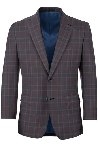 Grey w/ Light Blue & Red Glen Plaid 2PC Suit