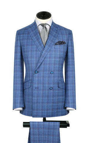 Cornflower Blue Plaid 2PC Suit