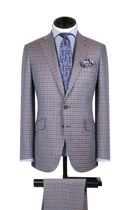 Brown, Blue & Grey Check 2PC Suit