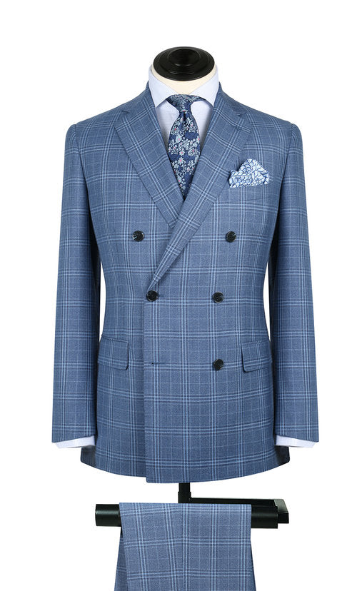 Washed Blue Glen Plaid 2PC Suit
