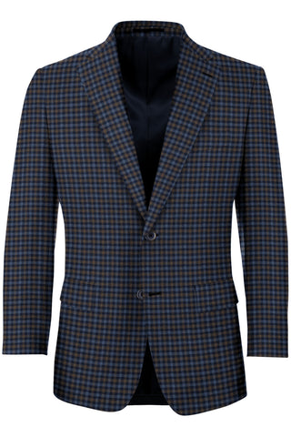 Navy, Light Blue & Rust Box Check Sport Coat