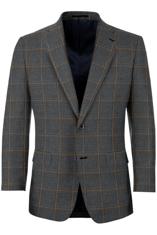 Grey Tweed w/ Tan Windowpane Sport Coat