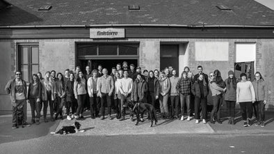 B Corp Finisterre outside cornish workshop for #FollowFriday competition series