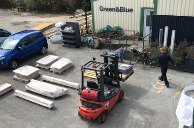 Orders being packed onto pallets at Green&Blue