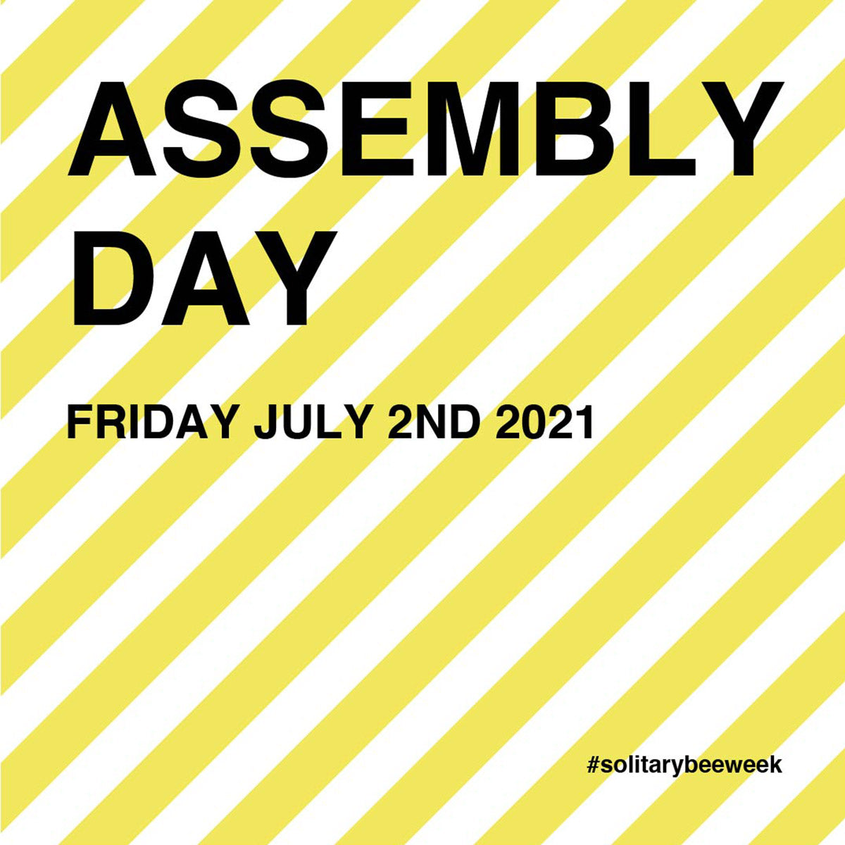 Graphic with yellow and white stripes that says assembly day 2021 as part of solitary bee week 2021