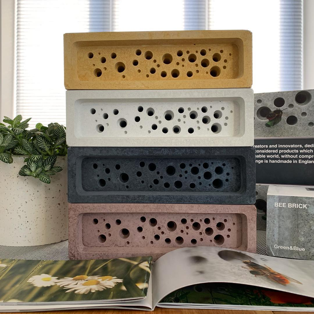 Stack of Bee Brick bee houses in BBA architects office