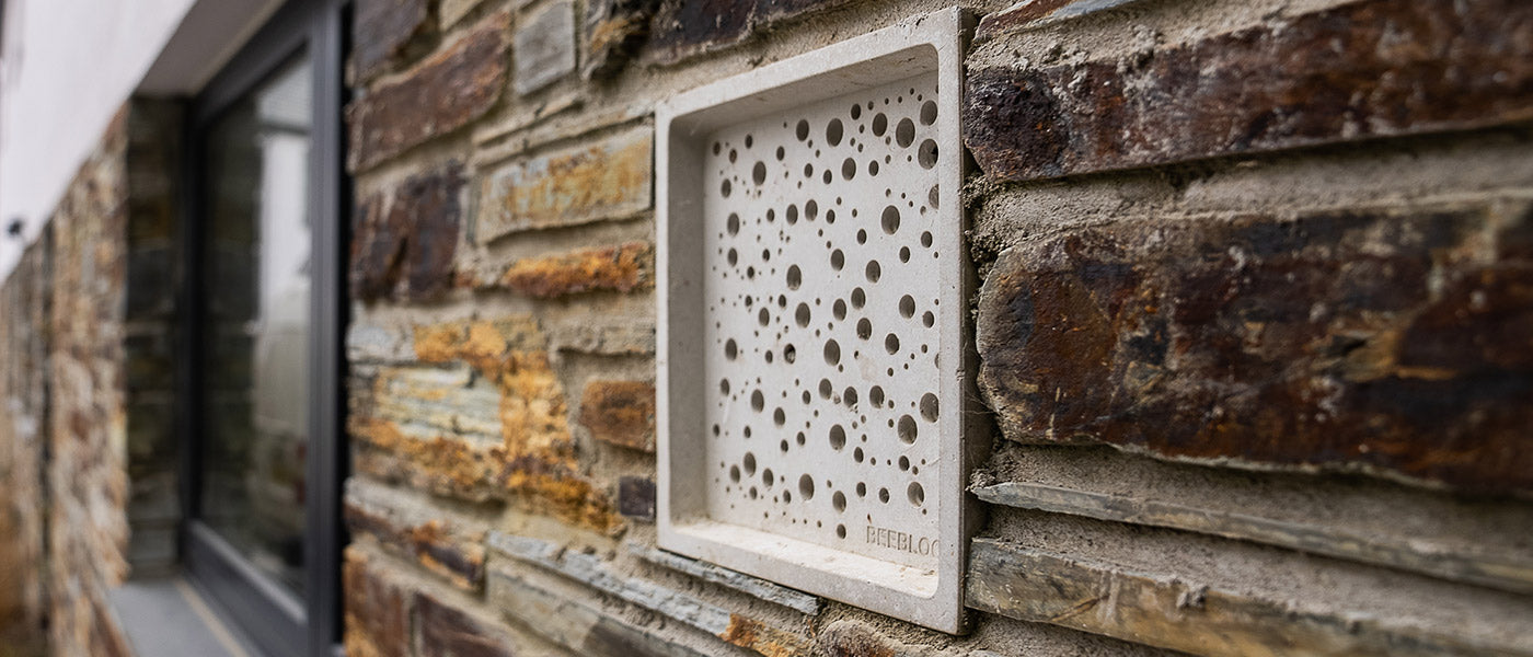 Bees Block bee house in wall
