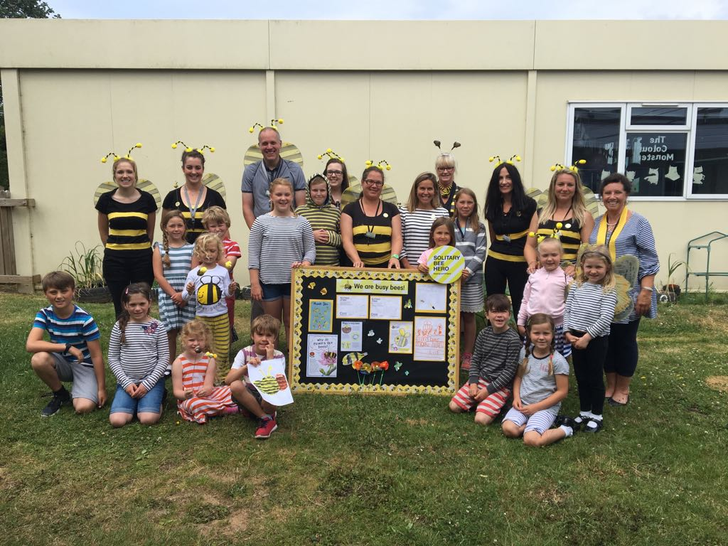 children of cubert school wear stripes for solitary bee week