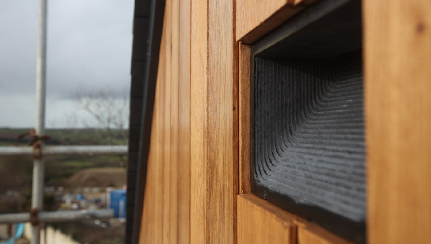 Green&Blue Bat BLock in situ in cladding wall