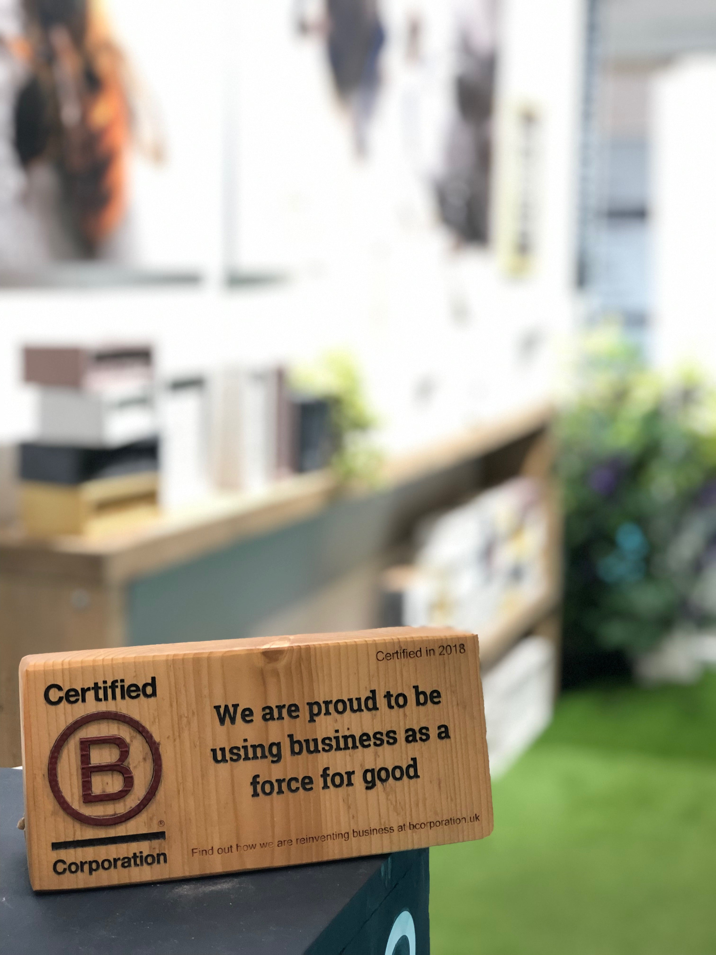 Green&Blue B Corp plaque