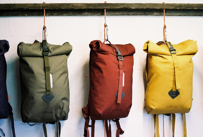 Millican bags outside the millican workshop