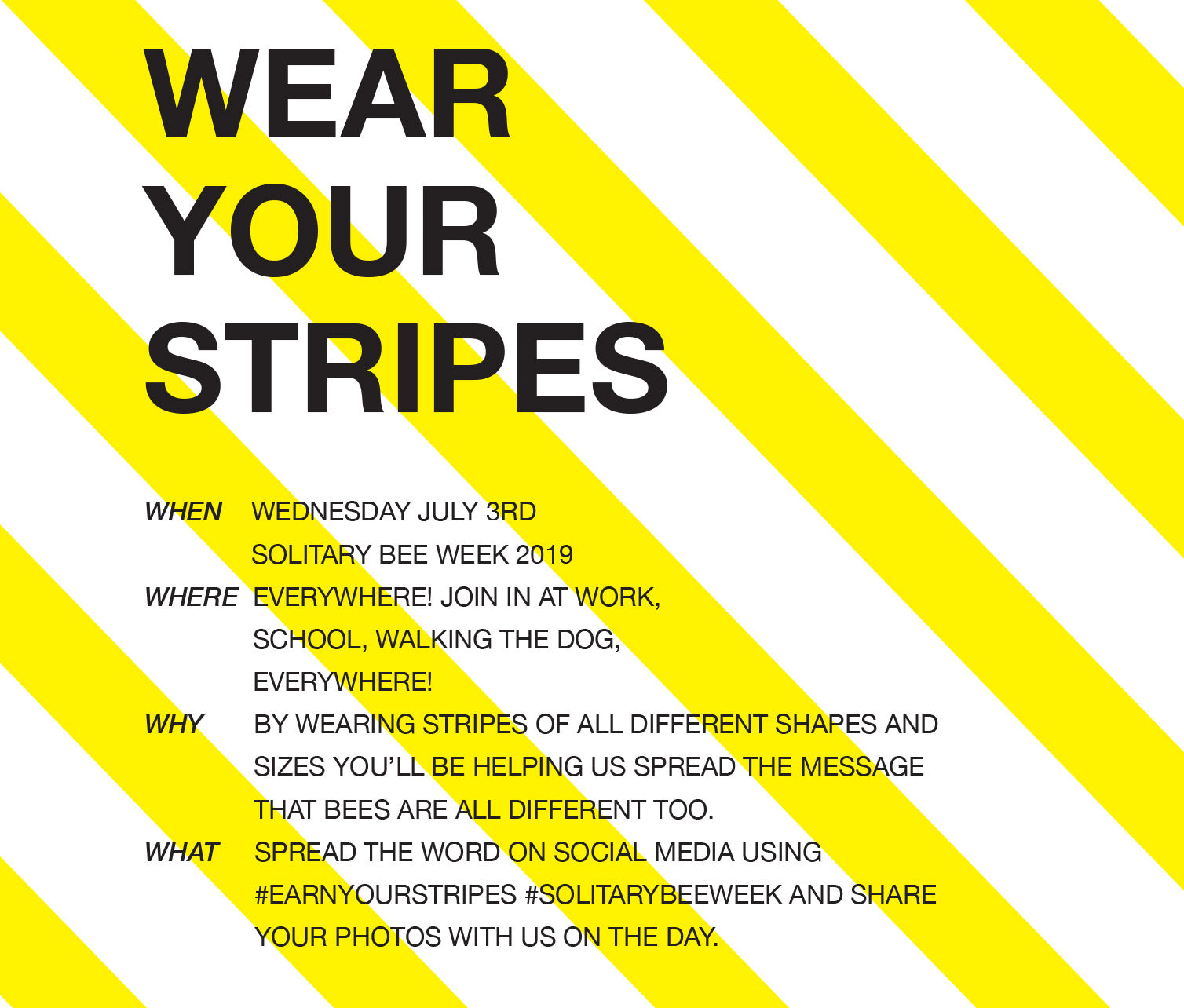 wear your stripes invite for solitary bee week