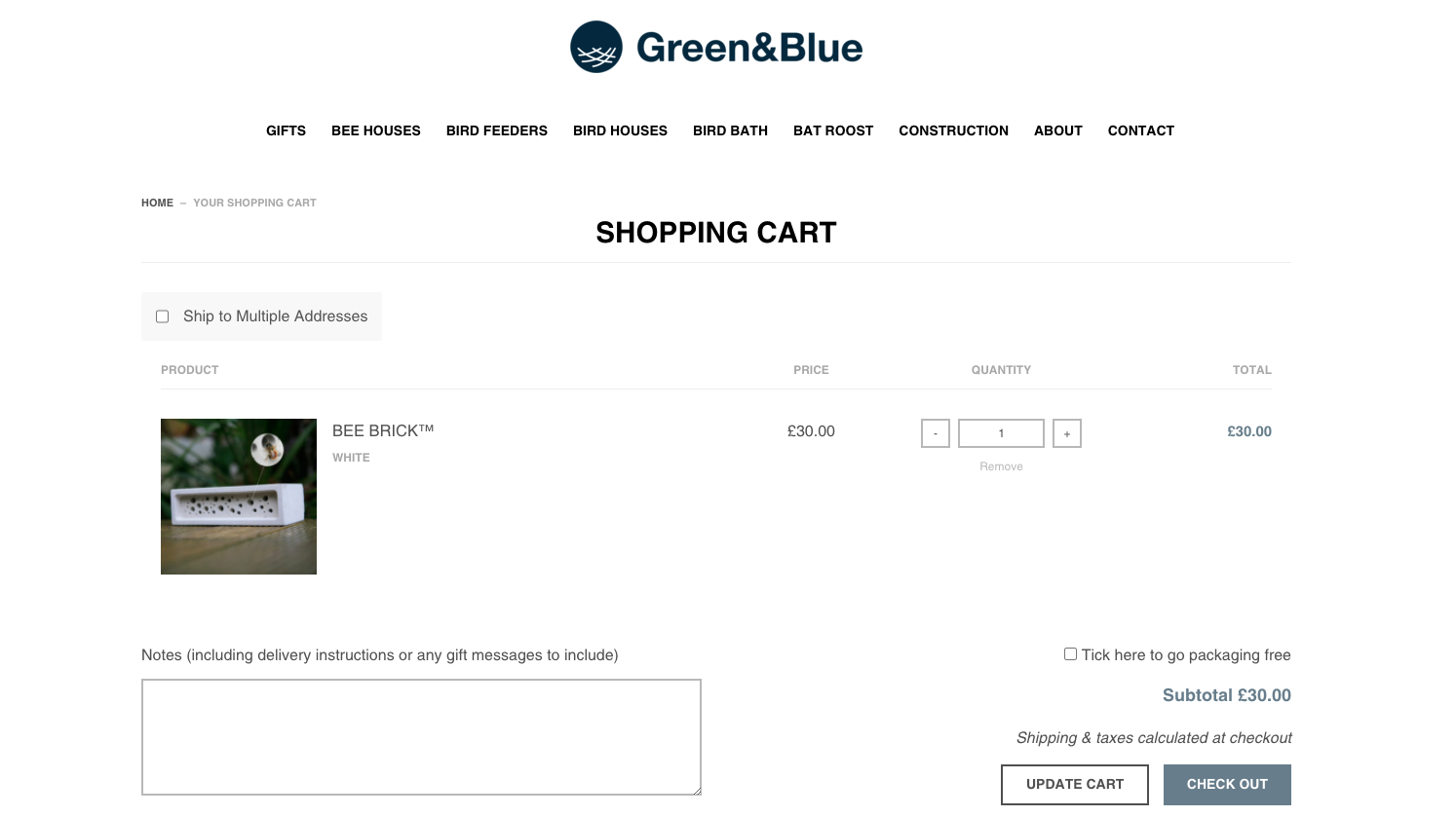 Screenshot of the Green&Blue checkout with packaging free option box