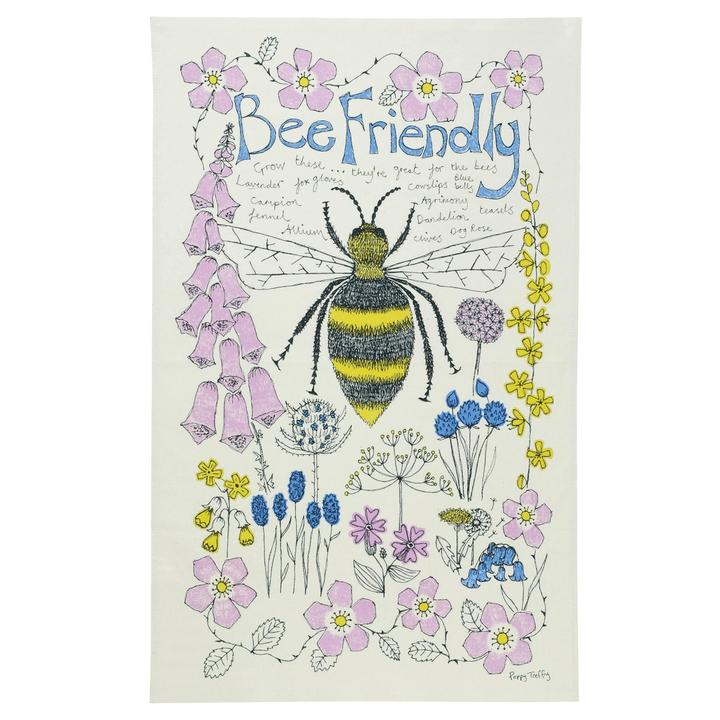 bee friendly tea towel from cornish designer poppy Treffry