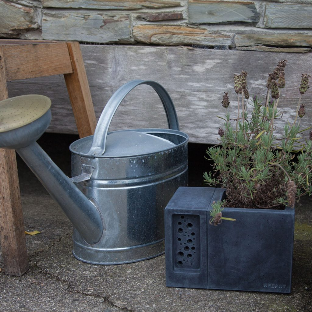 old watering can displayed in a rustic garden
